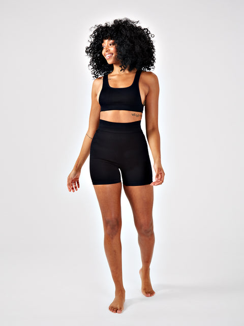 DAZE RIBBED CYCLING SHORTS - BLACK