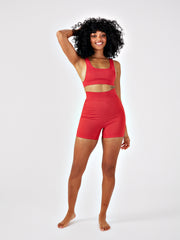 DAZE RIBBED CYCLING SHORTS - RHUBARB RED