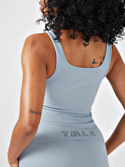 VINA RIBBED TANK TOP - COMET GREY