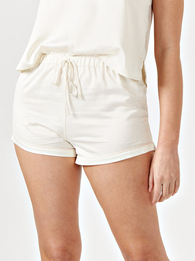 REVA DRAWSTRING PYJAMA SHORTS - CREAM