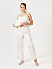 SHIARA DRAWSTRING PYJAMA TROUSERS - CREAM