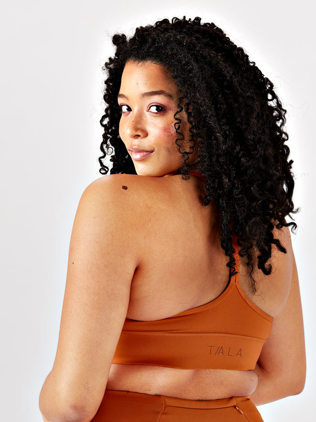 SKINLUXE™ RACER STRAP SPORTS BRA - COPPER