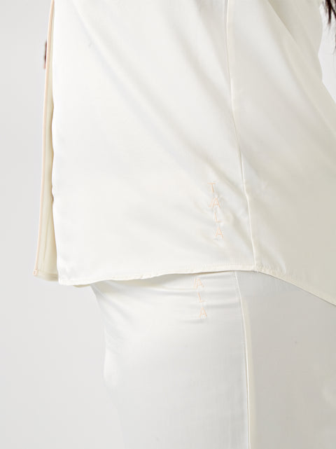 SONDA LONG SLEEVE PYJAMA SHIRT - CREAM