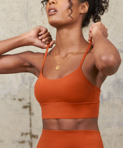 SKINLUXE RACER STRAP SPORTS BRA - COPPER