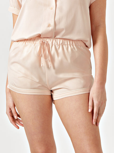 REVA DRAWSTRING PYJAMA SHORTS - BLUSH