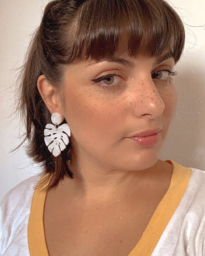 Pendientes Monstera Now or Never Blanco