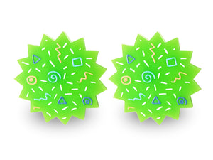 Retro Vintage 80s 90s Green Earrings