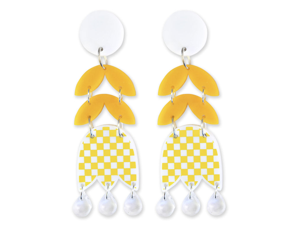 Pendientes Checkered Tulip Flower 60's