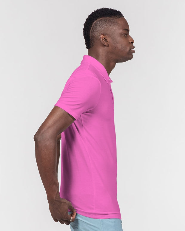 Large Pink Men's Slim Fit Short Sleeve Polo