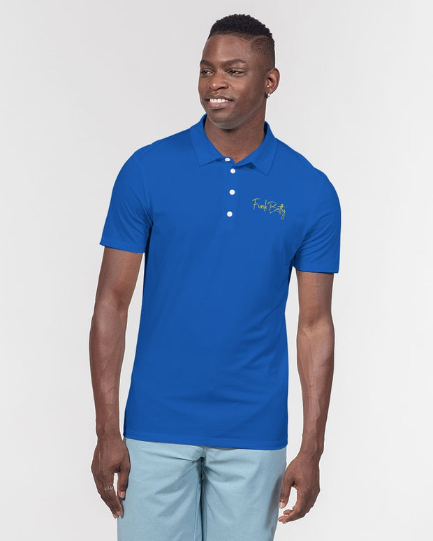 Large blue Men's Slim Fit Short Sleeve Polo