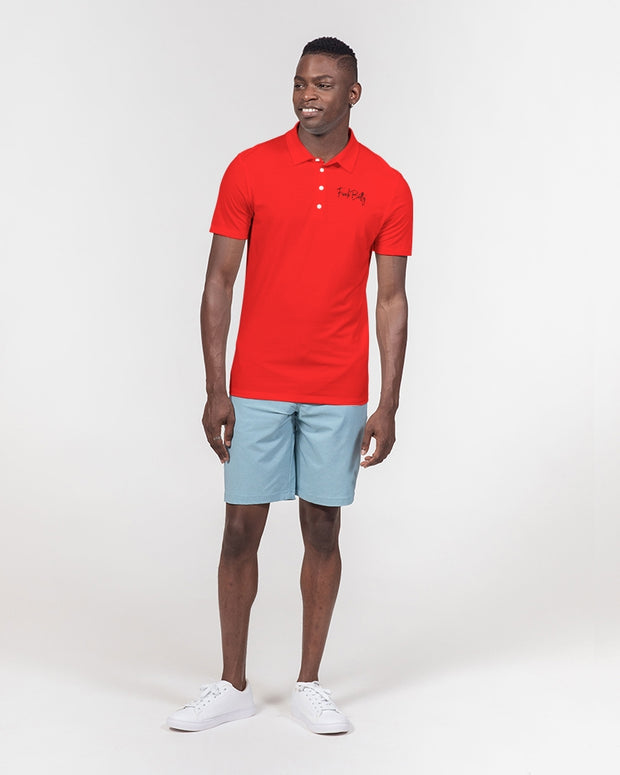 Large Red Men's Slim Fit Short Sleeve Polo
