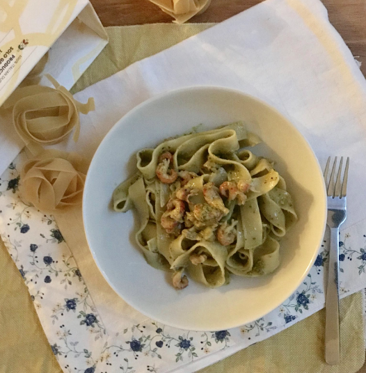 Pappardelle with Arugula Pesto and Dutch Lake Shrimps