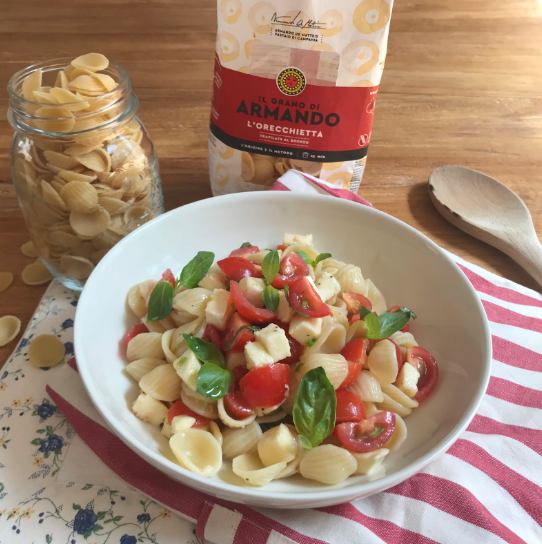 ORECCHIETTE with FRESH CHERRY TOMATOES, SCAMORZA AND BASIL