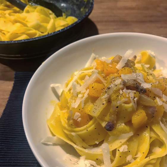 Pasta with pumpkin cream, pecorino & crispy guanciale