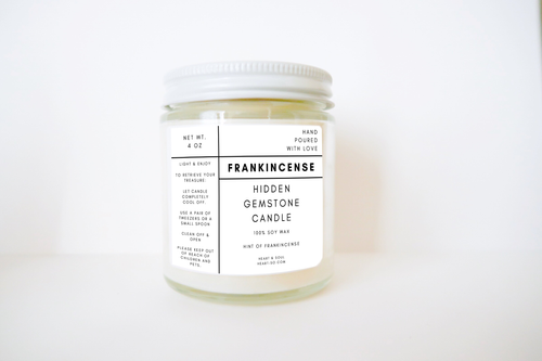Heart & Soul - Frankincense Hidden Gemstone Lightly Scented Soy Candle
