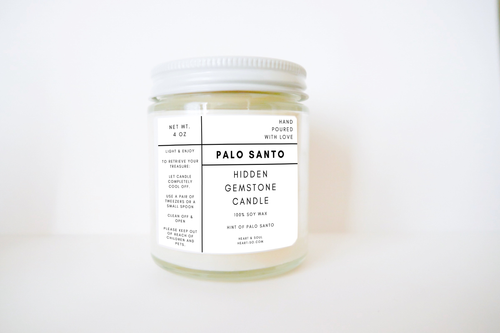 Heart & Soul - Palo Santo Hidden Gemstone Lightly Scented Soy Candle