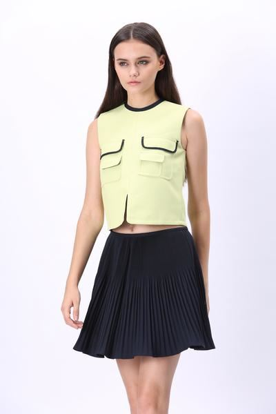 Comino Couture Lime Green Top & Navy Pleated Skirt *WAS £125*
