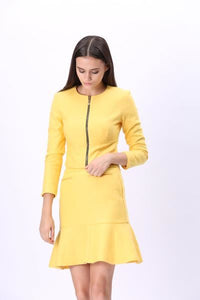 Comino Couture Lemon Front Zip Jacket & Flared Bottom Skirt *WAS £85*
