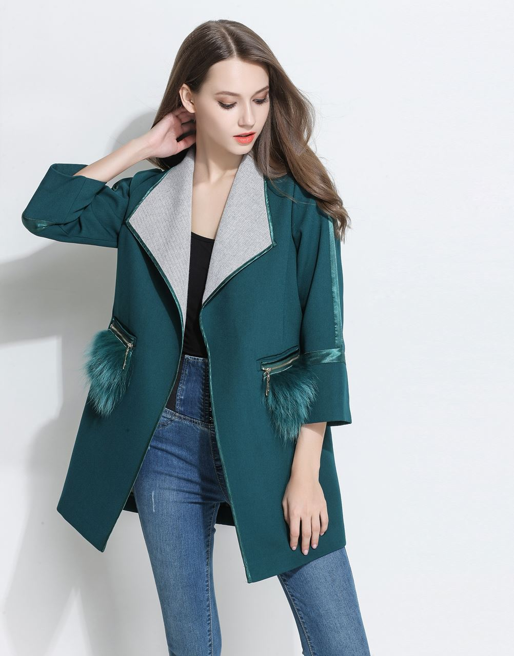 Comino Couture Green Faux Fur Pocket Coat * WAS £110*