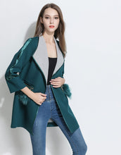 Load image into Gallery viewer, Comino Couture Green Faux Fur Pocket Coat * WAS £110*