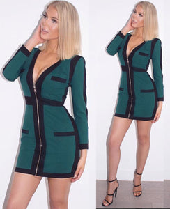 Comino Couture Green & Black Woven Colour Block Dress *WAS £210*