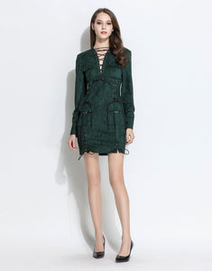 Comino Couture Lace-up Suedette Patch Pocket Dress *WAS £145*