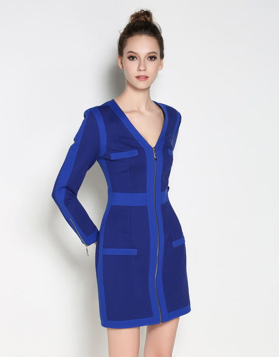 Comino Couture Cobalt Blue Woven Colour Block Dress * WAS £210*
