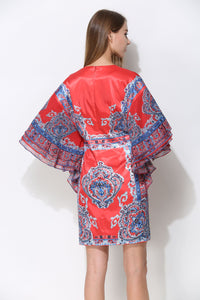 Comino Couture Red & Blue Printed Kimono Dress with Plunge Front * WAS £135*