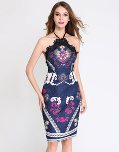 Comino Couture Vintage Navy Halter Neck Dress with Embellishment *WAS £160*