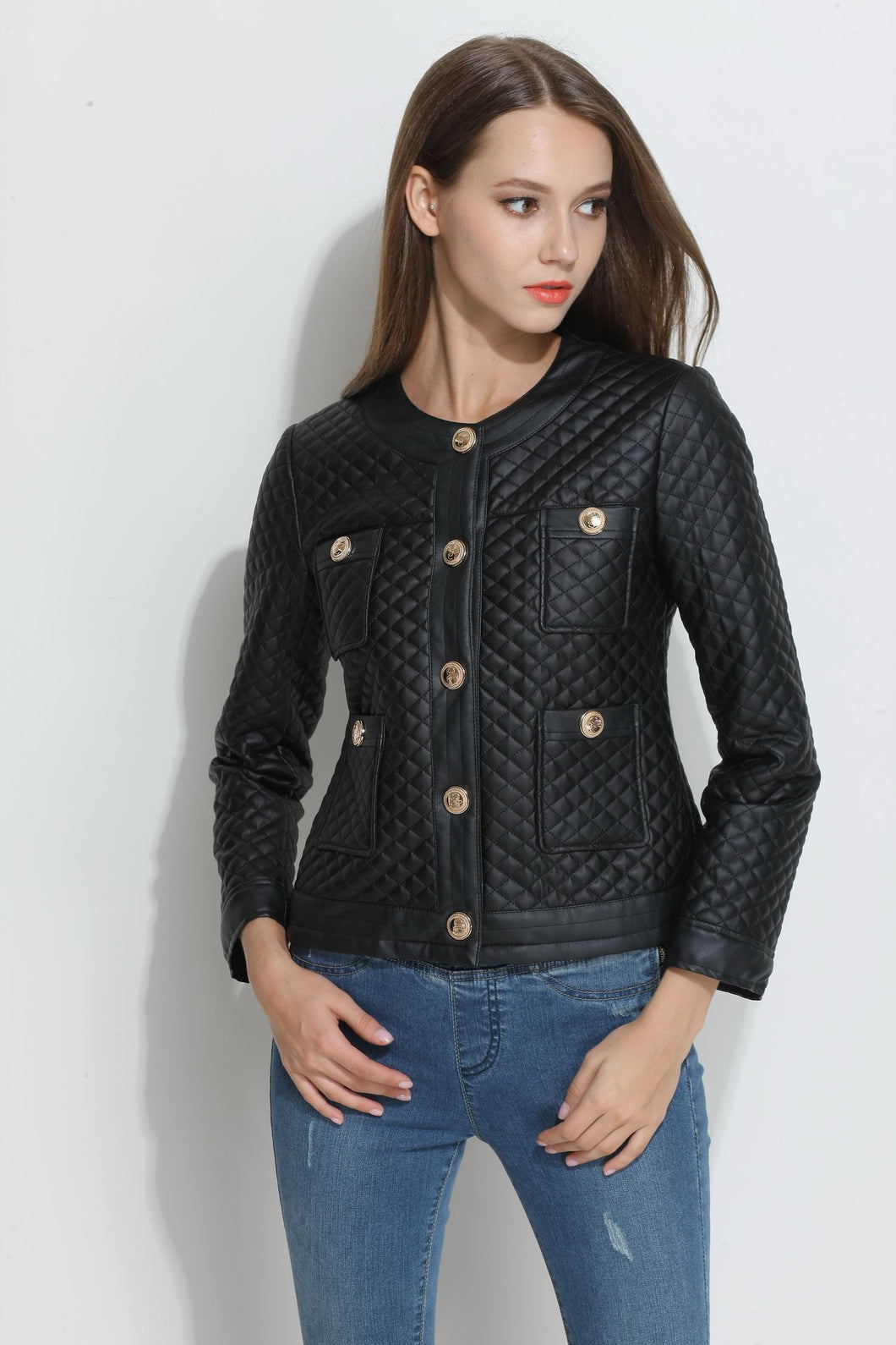 Comino Couture Black PU Quilted Leather Jacket *WAS £145