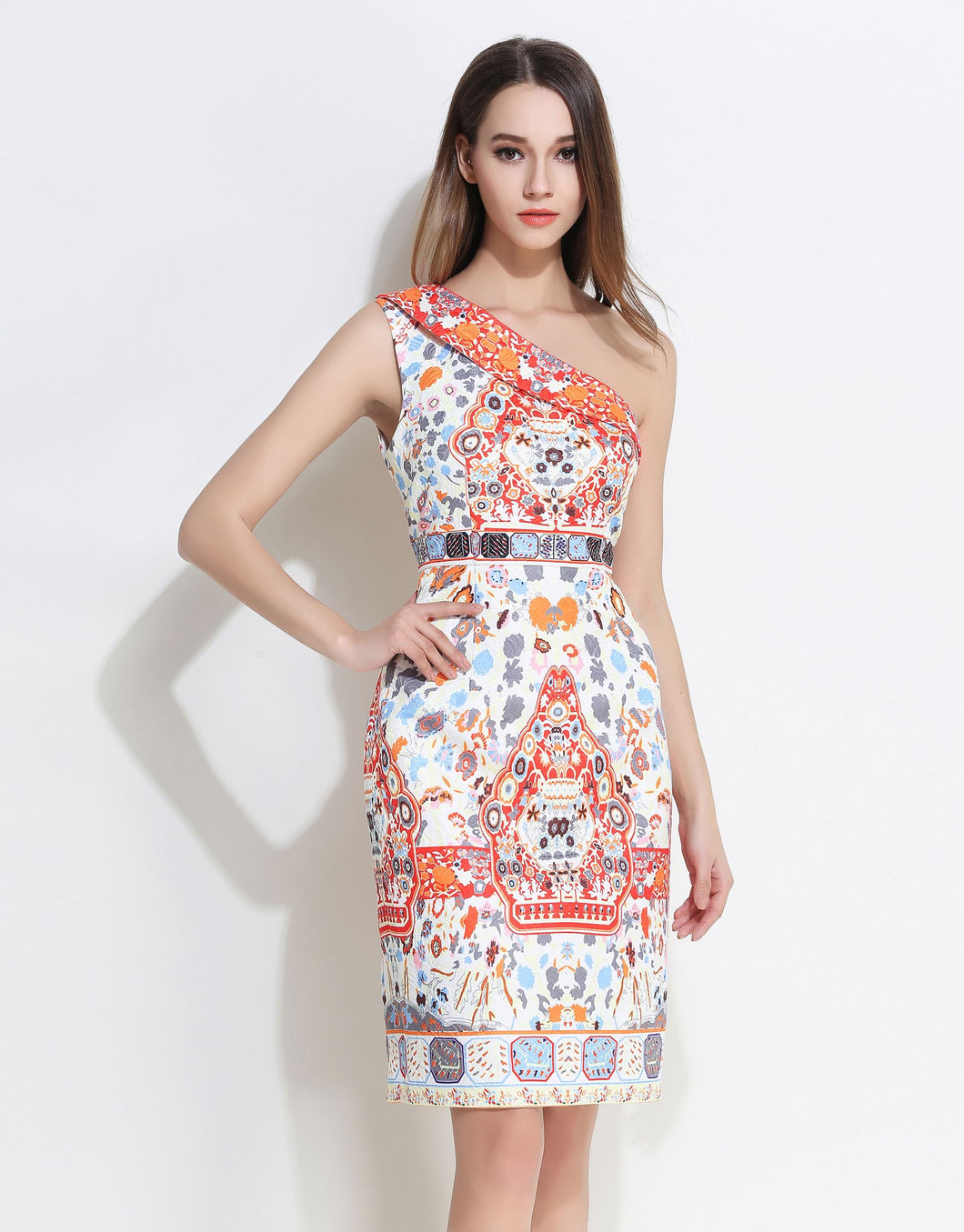 Comino Couture White Asymmetric Print Dress *WAS £150*