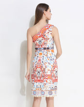 Load image into Gallery viewer, Comino Couture White Asymmetric Print Dress *WAS £150*