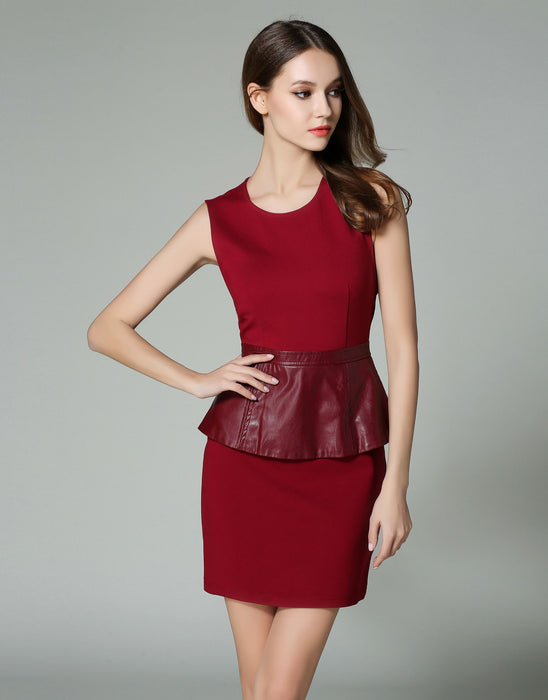 Comino Couture Berry Burst PU Peplum Dress *WAS £95*