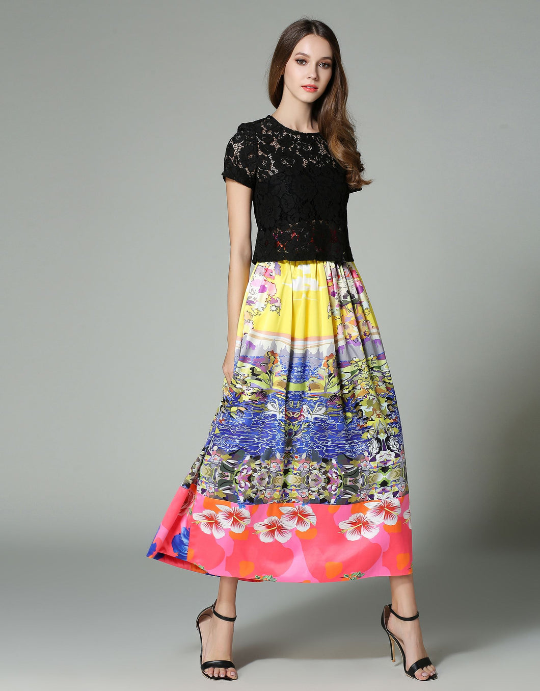 Comino Couture Fruit Salad Black Lace Top & Maxi Skirt * WAS £135*