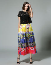 Load image into Gallery viewer, Comino Couture Fruit Salad Black Lace Top & Maxi Skirt * WAS £135*
