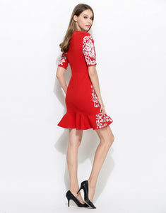 "Comino Couture Red ""Cola Cube"" Peplum Bottom Dress *WAS £160*"