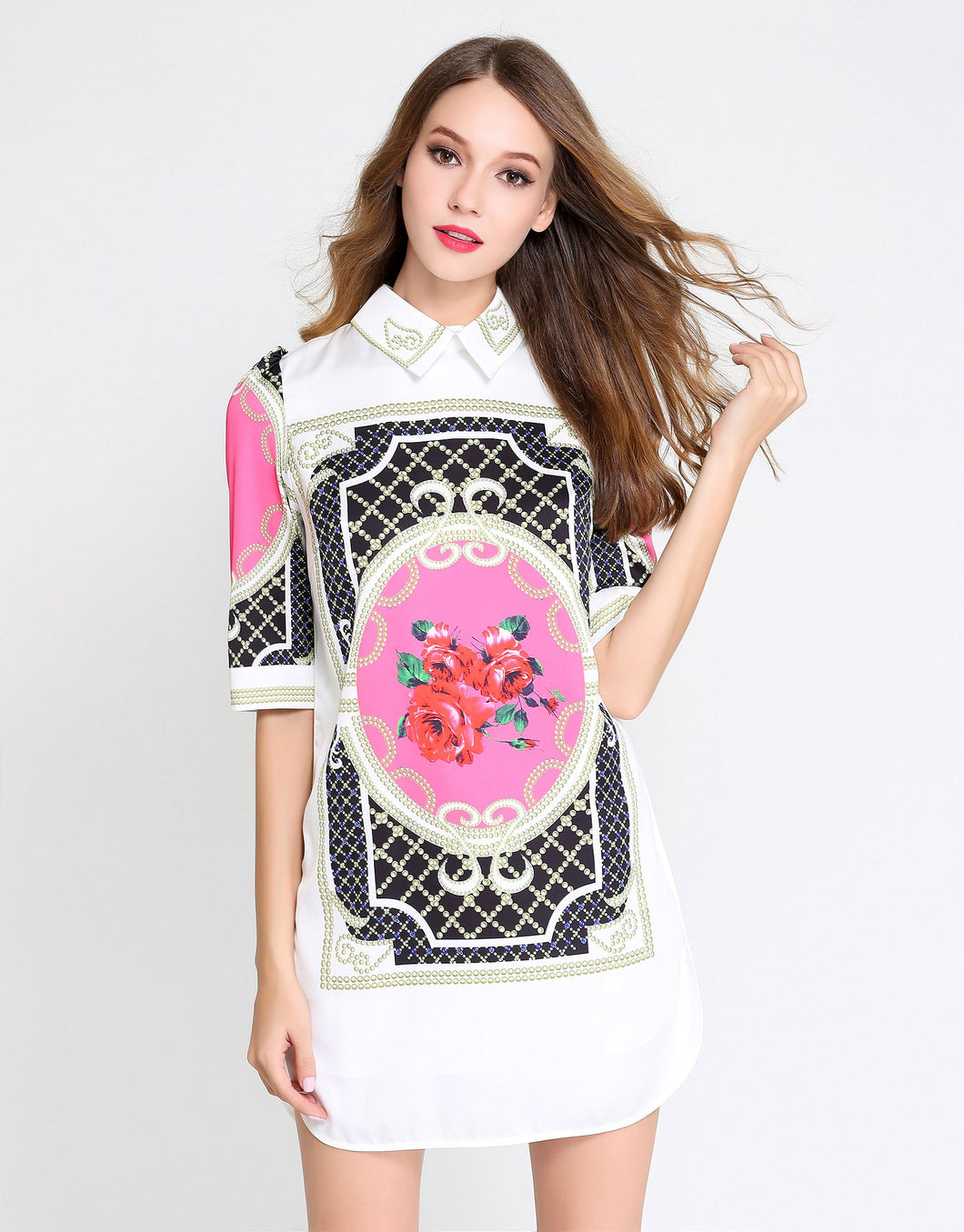 White collared shirt dress with Rose tiles