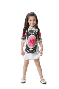 LIttle Miss Comino Couture Collared Print Dress
