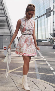 Comino Couture Grey & Red High Neck Printed Mini Dress *WAS £150*
