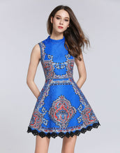 Load image into Gallery viewer, Electric Blue High Neck Skater Vintage Dress