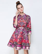 Load image into Gallery viewer, Pink Folk Print Skater Dress