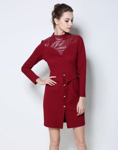 Comino Couture PU Leather High Neck Dress *WAS £85*