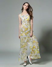 "Load image into Gallery viewer, Comino Couture ""Super Cube"" Floral Print Sleeveless Wide Leg Jumpsuit  *WAS £80*"