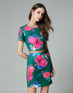 "Comino Couture ""Forest Green"" Floral Crop Top & Skirt  *WAS £85*"