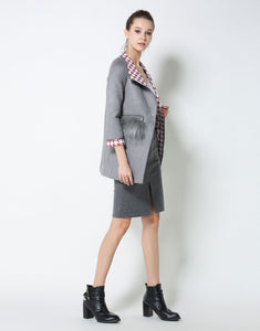 Comino Couture Grey Faux Fur Pocket Coat *WAS £95*