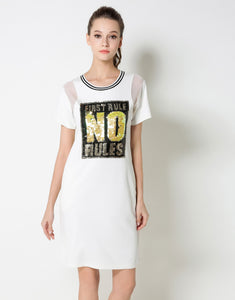 "Comino Couture ""First Rules No Rules"" Sequined T-shirt Dress *WAS £85*"