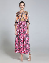Load image into Gallery viewer, Comino Couture Orange & Pink Flamingo Maxi Dress *WAS £135*