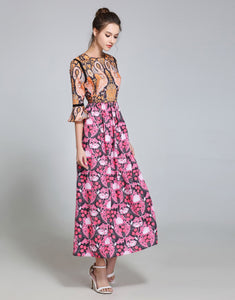 Comino Couture Orange & Pink Flamingo Maxi Dress *WAS £135*