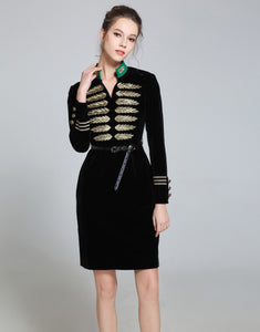 Comino Couture Velvet Military Dress *WAS £180*