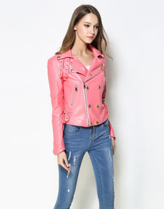 Comino Couture Pink Textured Real Leather Biker Jacket  *WAS £450*